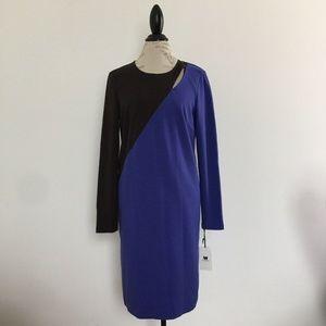 W by Worth Color Block Purple Ponte Dress Size 12